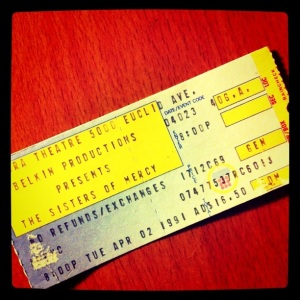 Sisters of Mercy ticketstub, 1991
