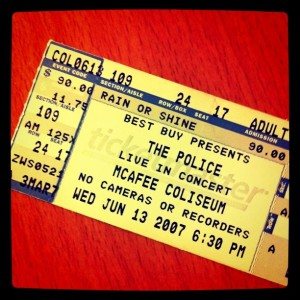Ticket stub, The Police
